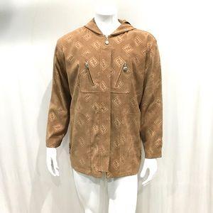 Fendi Mens Vintage Beige Hooded Monogram Jacket
